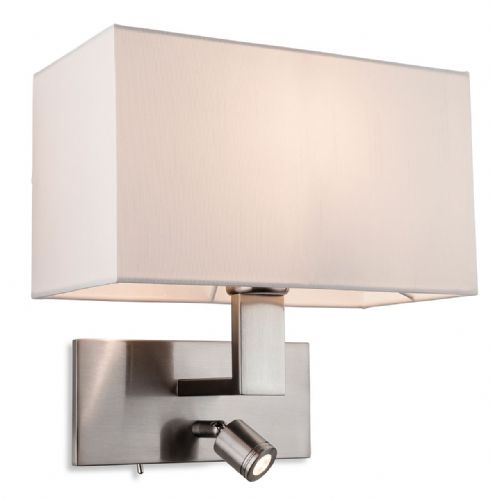 Raffles 2 Light Wall (Switched), Brushed Steel with Cream Shade, 4940BS